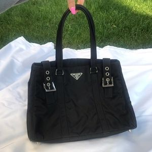Authentic Prada Tessuto Black Buckles Handbag